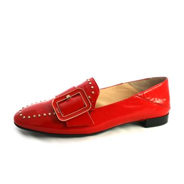 NO22A FLAT SHOE WITH BUCKLE - RED