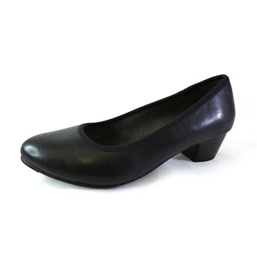 6 JANA SOFTLINE LOW BLOCK HEEL - BLACK