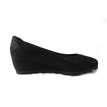 15 JANA SOFTLINE SLIP ON LOW WEDGE - BLACK