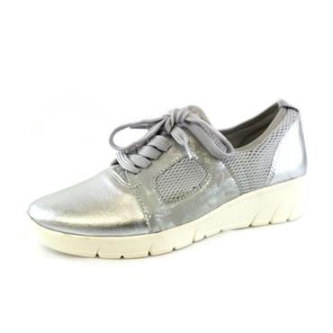 No15A JANA LACED SILVER RUNNER LOW WEDGE - SILVER