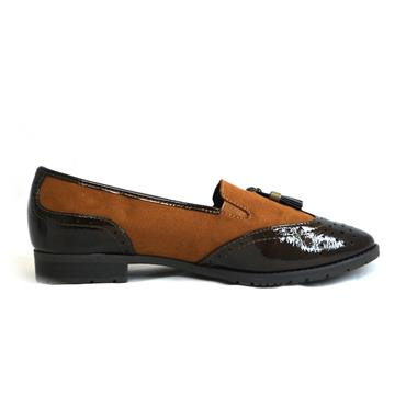 20 JANA SOFTLINE TAN LOAFER WITH TASSLE - COGNAC