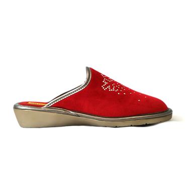 10A MULE SLIPPER VELVET - RED