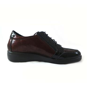 6 INEA BORDEAUX LACED SHOE W/ ZIP - WINE