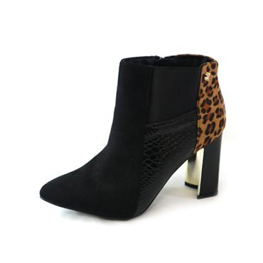 1 SPROX - BLK SUEDE MID HEEL BOOT - BLACK
