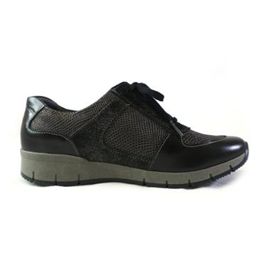 23A SUAVE LACED SHOE W/ ZIP - BLACK