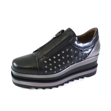 8 MARCO MOREO BLACK SHOE W/ZIP - BLACK