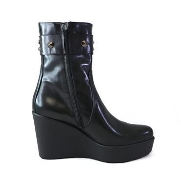 3 MARCO MOREO BLACK MIDI CALF  BOOT - BLACK