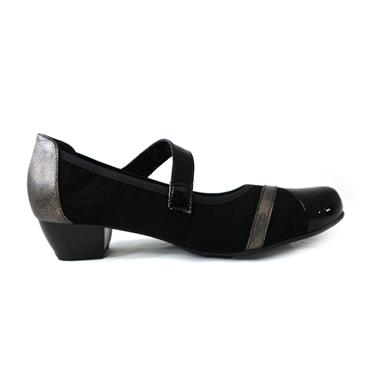 1 BLACK COURT  BLOCK HEEL W/STRAP - BLACK