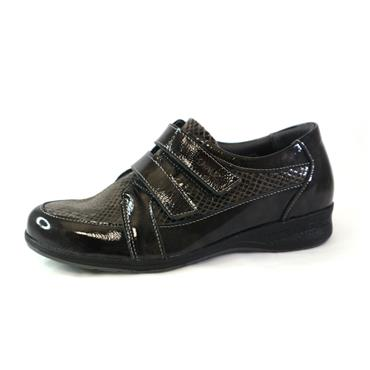 21A SUAVE DOUBLE VELCRO STRAP SHOE - BLACK