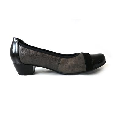 2 BLACK PUMP W/HEEL - BLACK