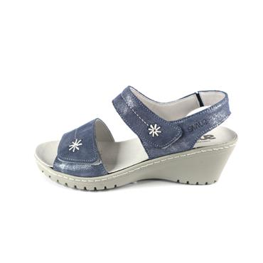 No 32 SUAVE DAISY WEDGE SANDAL - BLUE