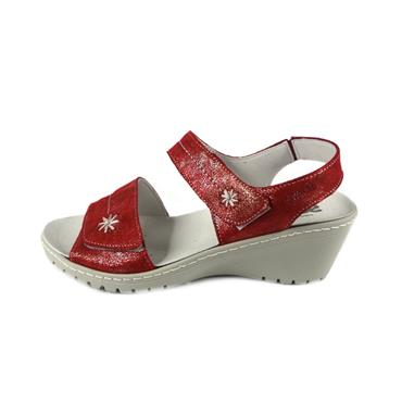 No 32A SUAVE DAISY WEDGE SANDAL - RED