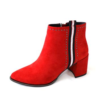 4 REDZ RED ANKLE BOOT CHUNKY HEEL - RED