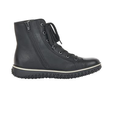 31 RIEKER LACED ANKLE BOOT W/ZIP - BLACK