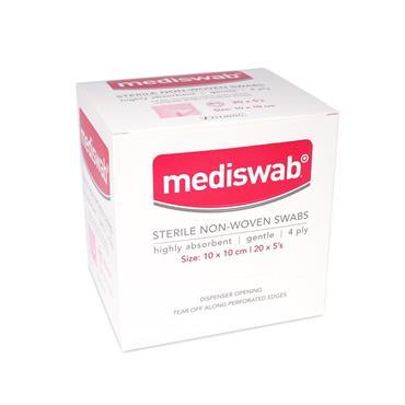 MEDISWAB STERILE NON WOVEN SWABS 10X10CM