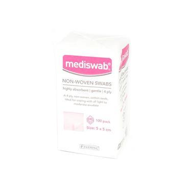MEDISWAB  NON-STERILE NON-WOVEN SWABS 4PLY 5 X 5CM 100'S