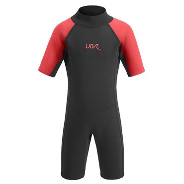 UB Kids Sharptooth Shorty Wetsuit 9-10 Black red