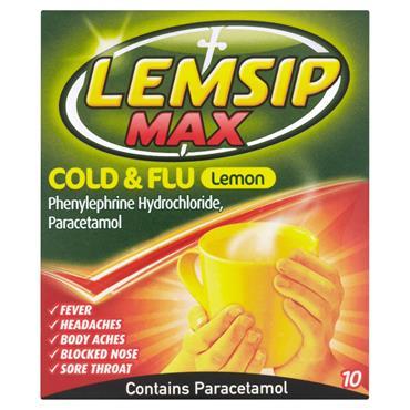 LEMSIP MAX COLD& FLU HOT LEMON SACHETSX10