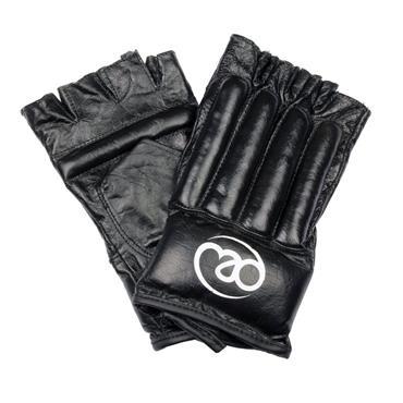 Fitness Mad Leather Fingerless Bag Glove Large Black