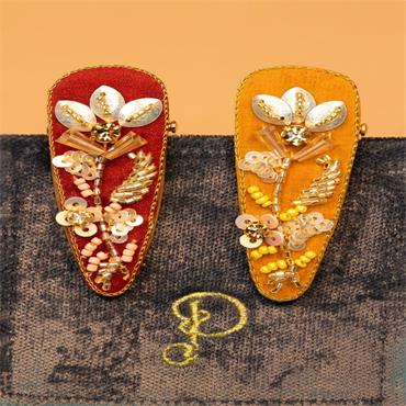 POWDER JEWELLED HAIRCLIPS CORAL