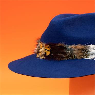 POWDER FEATHER BAND WOOL HAT NAVY