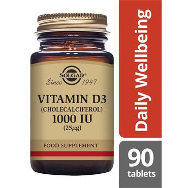 SOLGAR Vitamin D3  (Cholecalciferol) 1000 IU (25 ug) 90s