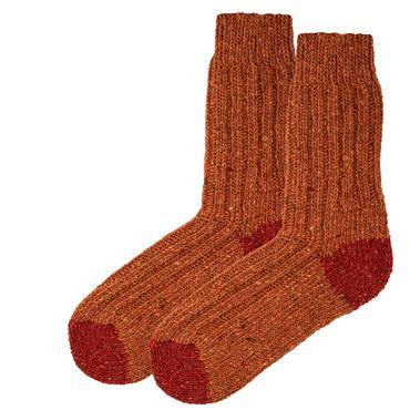 Wild Atlantic Sock Collection  Tweed Wool Hiking Socks Light Orange/Dark Orange | Women