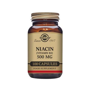 Solgar Niacin (Vitamin B3) 500 mg Tablets - Pack of 100
