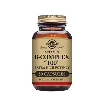 "Solgar Vitamin B-Complex ""100"" Extra High Potency Vegetable Capsules - Pack of 50"