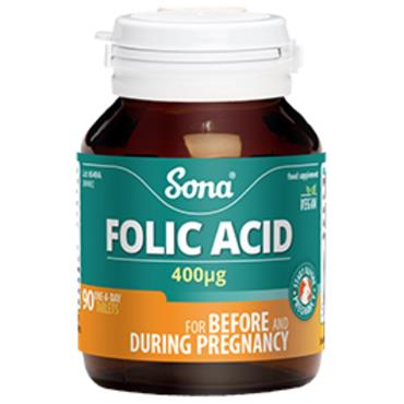 Sona Folic Acid 400ug 90 Caps