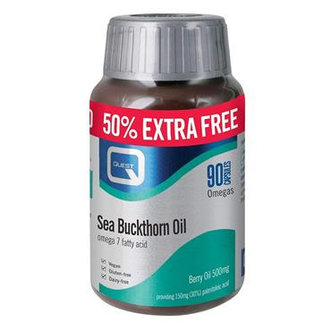 Quest Sea Buckthorn Oil - Omega 7 - 50% Extra FREE - 60+30 Capsules