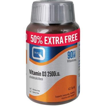 Quest Vitamin D3 2500iu - 50% Extra FREE - 60+30 Tablets