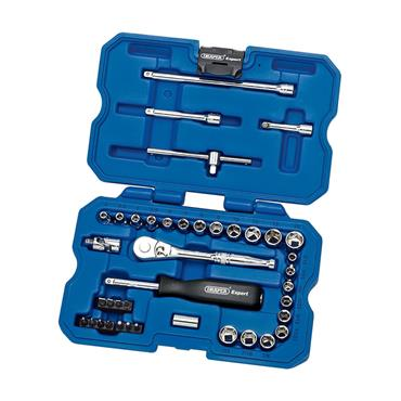 """Draper, Expert 1/4"""" Sq. Dr. MM/AF Combined Socket Set 40 Piece"""