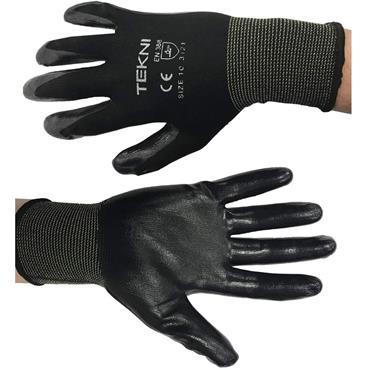 TEKNI Black Nylon Glove w/ Nitrile Palm Coating