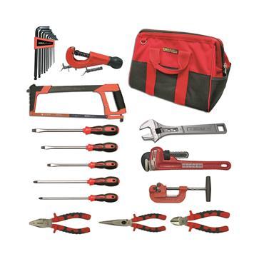 Ega Master Plumbing Tool Set Including Tool Bag, 16 Piece