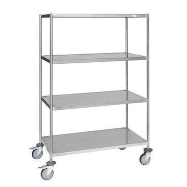 Kongamek Welded Stainless Steel Trolley, Class C3, 4 Shelves