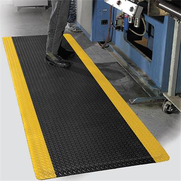 Diamond Foot Mat Black with Yellow Border