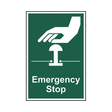 Safety Signs: Fire Safety & Safe Condition, Emergency Stop