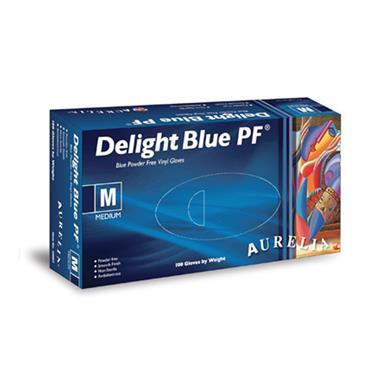 Supermax, Aurelia Delight Blue Glove Vinyl Powder Free, 100 Box