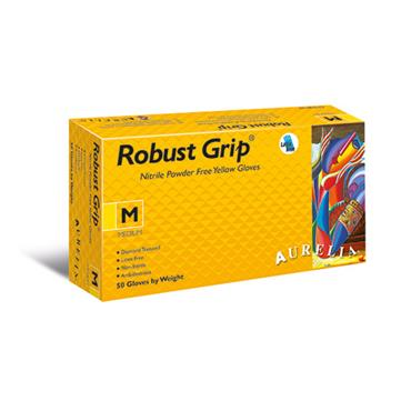 Aurelia Heavy Duty Robust Grip Powder Free Yellow Nitrile Gloves w/ Diamond Textured Grip