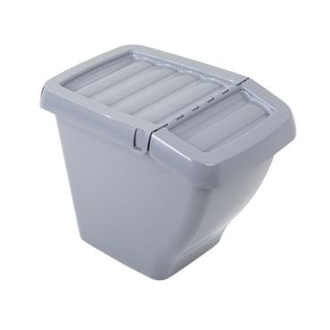 Wham® Recycle It 50L Bin & Hinged Lid Grey Upcycled