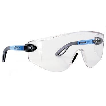 Infield Astor Safety Glasses, Black/ Blue Frame, Clear Lens