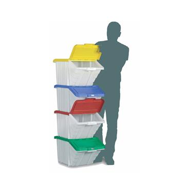 Topstore Multi Function Picking Bins with Lids. Mixed colour lids