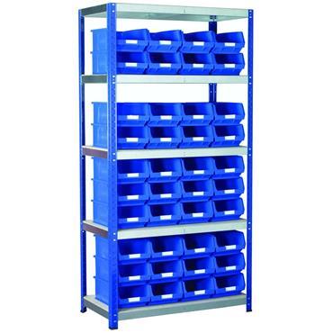 Eco-Rax Shelving w/ 5 Shelves & 40 TC Bins