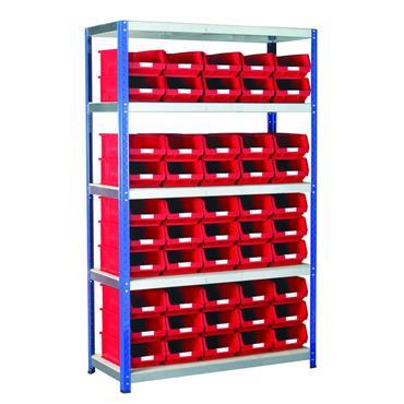 Eco-Rax Shelving w/ 5 Shelves & 50 TC Bins