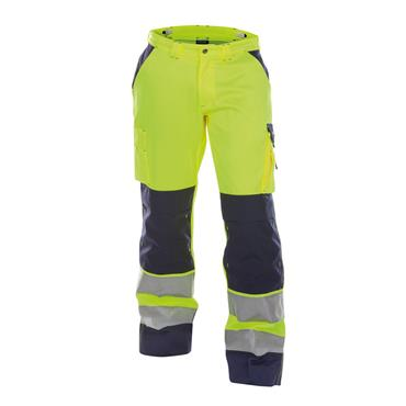 DASSY Buffalo (200431) High visibility work trousers with knee pockets, Yellow/Navy