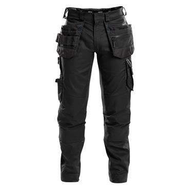 DASSY Flux (200975) Work trousers with stretch, multi-pockets and knee pockets, Black