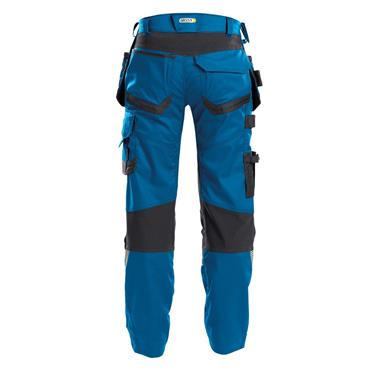 DASSY Flux (200975) Work trousers with stretch, multi-pockets and knee pockets, Blue/Grey