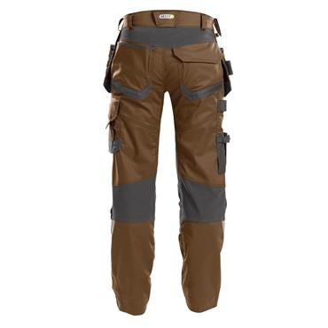 DASSY Flux (200975) Work trousers with stretch, multi-pockets and knee pockets, Brown/Grey