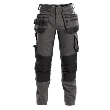DASSY Flux (200975) Work trousers with stretch, multi-pockets and knee pockets, Grey/Black